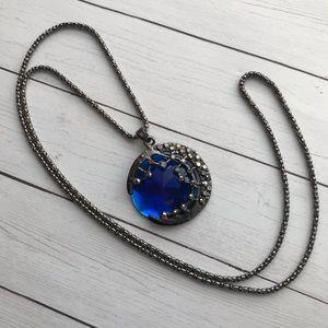 Jewelry - Blue Moon Necklace Gunmetal Silver w/ Rhinestones